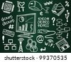 Information technology and internet sketch icons on school board - stock vector