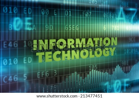 Information technology concept background, green text - stock photo