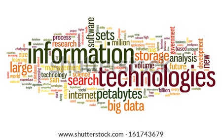 Information technology concept in tag cloud on white background - stock photo