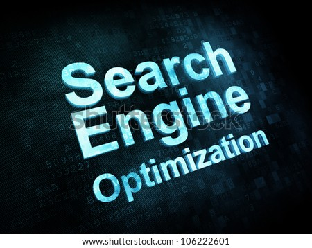 Information technology concept: pixelated words Search Engine Optimization, seo on digital screen, 3d render - stock photo