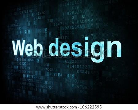 Information technology concept: pixelated words Web design on digital screen, 3d render - stock photo