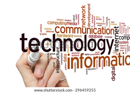 Information technology concept word cloud background - stock photo