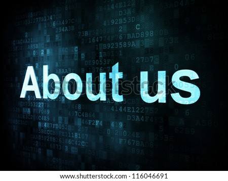 Information technology IT concept: pixelated words About us on digital screen, 3d render - stock photo