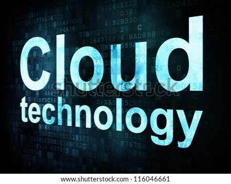 Information technology IT concept: pixelated words Cloud technology on digital screen, 3d render - stock photo