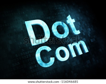 Information technology IT concept: pixelated words Dot Com on digital screen, 3d render - stock photo