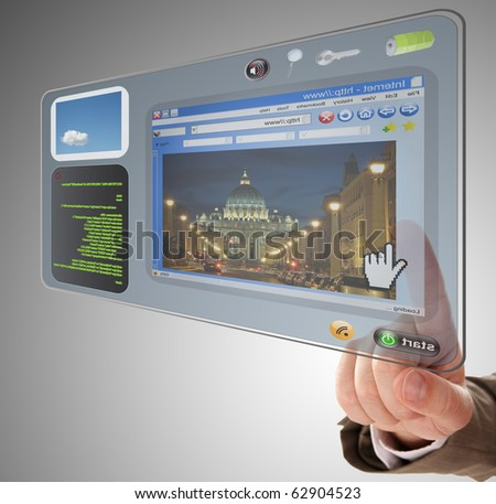 information technology on touchscreen tablet - stock photo