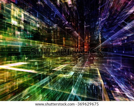 Information Trails series. Backdrop design of Fractal three dimensional textures in perspective for works on science, communications and modern technology - stock photo