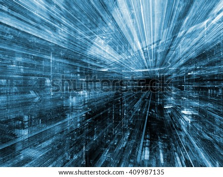Information Trails series. Background design of Fractal three dimensional textures in perspective on the subject of science, communications and modern technology - stock photo