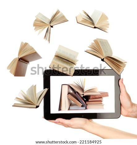 Information transfer. Books flying in tablet - stock photo