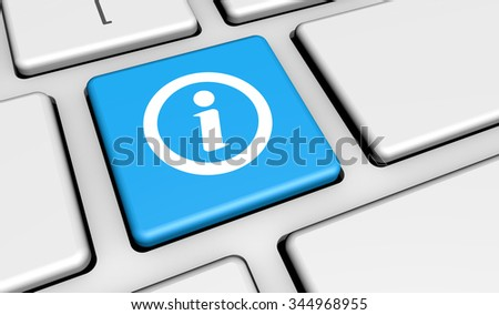 Information, web connections and contact concept with info sign and symbol on a laptop key for website and online business.