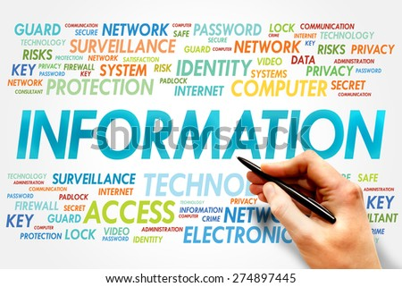INFORMATION word cloud, security concept - stock photo
