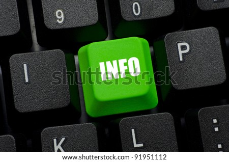 information word on green and black keyboard button - stock photo