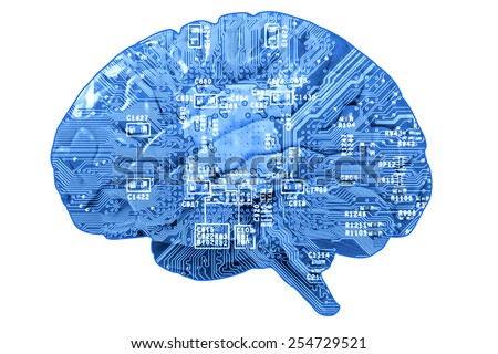 Informational concept: circuit board in form of human brain isolated on white - stock photo