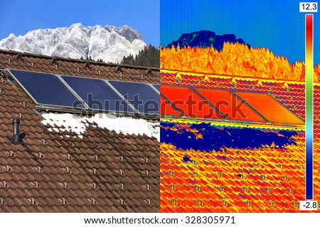 Infrared and real image of Photovoltaic Solar Panels on the roof House - stock photo