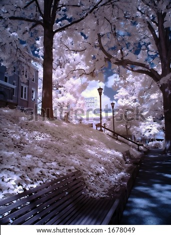 infrared campus view - stock photo