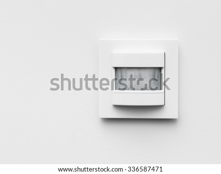 Infrared detector in the house on white background - stock photo