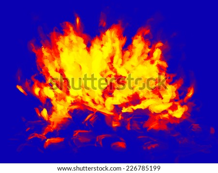 Infrared fire painted illustration - stock photo