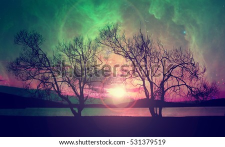 infrared landscape with red alien sky with manny stars over the mysterious lake- elements of this image are furnished by NASA