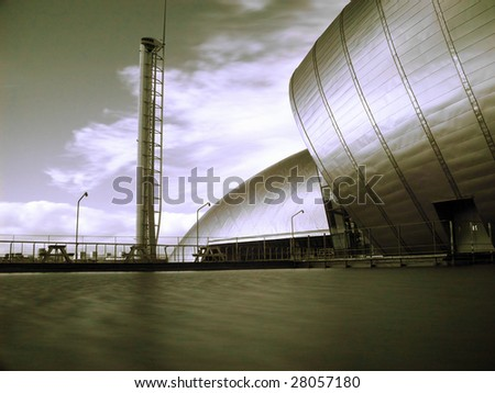 Infrared picture of glasgow science center with Imax and observation tower