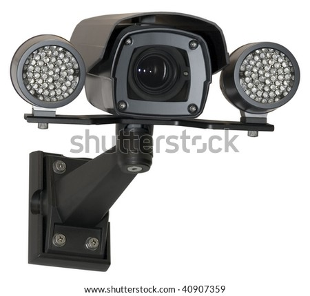 Infrared security black camera isolated with clipping path - stock photo