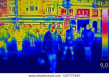 Infrared Thermal image people walking the city streets