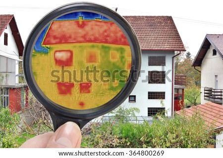 Infrared Thermal Imaging Investigation with Lupe - stock photo