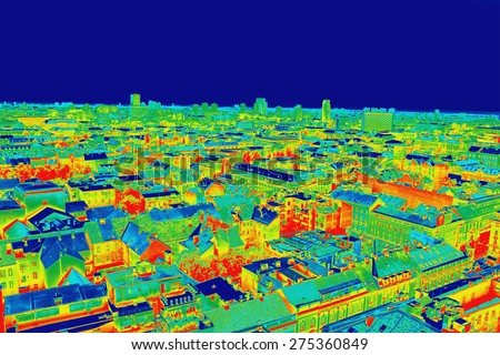 Infrared thermovision image panorama of Zagreb, showing difference temperature  - stock photo