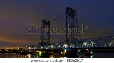 infrastructure at night in the port of Rotterdam