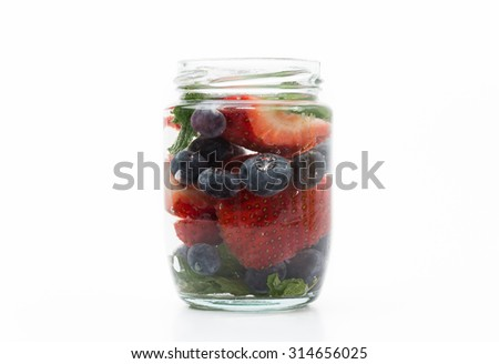 infused water on white background