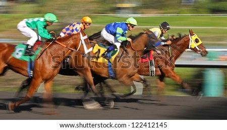 "INGLEWOOD, CA - DEC 15: Jockey Garrett Gomez and ""Include The Cat"" (#4) surge up the middle to win an allowance race at Hollywood Park on Dec 15, 2012 in Inglewood, CA. - stock photo"