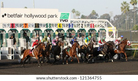 "INGLEWOOD, CA - DEC 8: The field breaks from the gate for the Bayakoa Stakes at Hollywood Park on Dec 8, 2012 in Inglewood, CA. Eventual winner is ""Lady of Fifty"" (#3) and Martin Garcia. - stock photo"