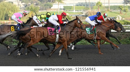 "INGLEWOOD, CA - DEC 8: The field passes the stands first time around in the Bayakoa Stakes at Hollywood Park on Dec 8, 2012 in Inglewood, CA. Winner, at lead, is ""Lady of Fifty"" (3) and Martin Garcia. - stock photo"