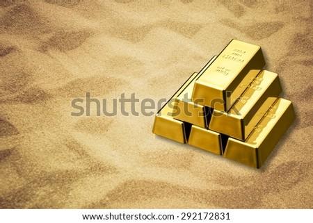 Ingot, Gold, Metal. - stock photo