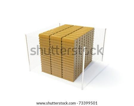 ingots in fence isolated on white background - stock photo