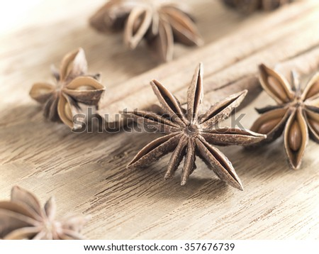 ingredient flavor aromatic- Star anise and cinnamon sticks on wooden chopping block ( Vintage tone color ) - stock photo