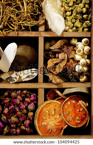 ingredient for chinese herbal medicine - stock photo