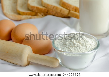 ingredient for make bakery with rolling Pin