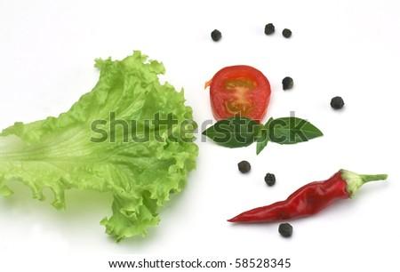 ingredient for salad, spice, lettuce, tomato, paprika, basil - stock photo