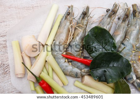 ingredient of thai spicy soup tom yum - stock photo
