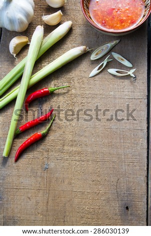 ingredient spicey thai food on  wood background - stock photo