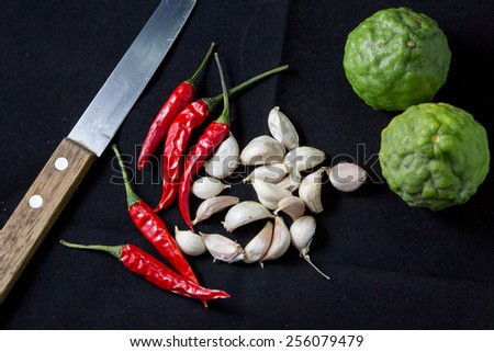 Ingredient thai food and knife - stock photo
