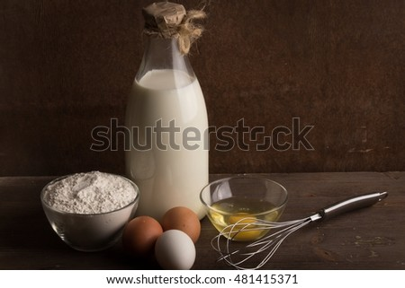 ingredients against the background of a dark wall.