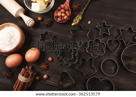 Ingredients and kitchen utensils for cooking - stock photo