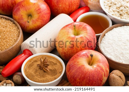 ingredients and spices for apple pie, horizontal - stock photo