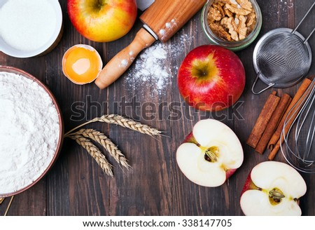 Ingredients and tools for making an apple pie, top view - stock photo