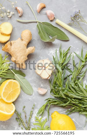 ingredients, condiments and herbs on a concrete background, summer harvest, a drink for health.