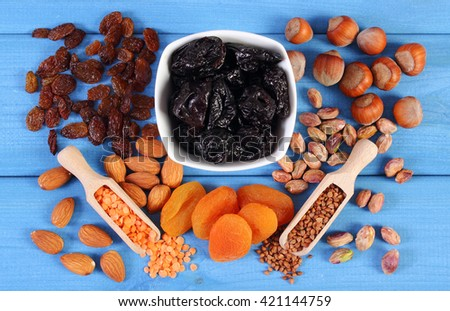 Ingredients containing iron and dietary fiber, natural sources of ferrum, healthy lifestyle, food and nutrition - stock photo