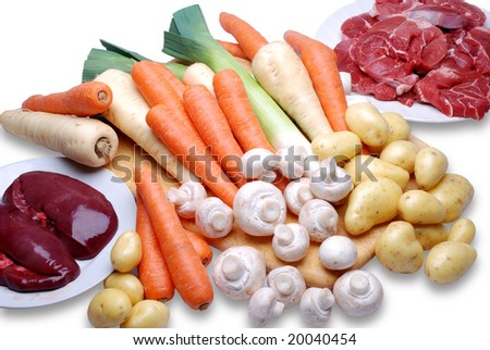 Ingredients for a beef stew.
