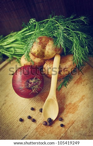 ingredients for a delicious healthy vegetable soup - stock photo