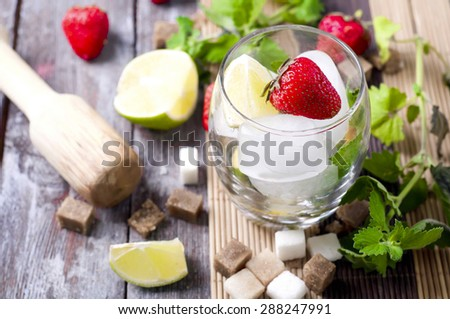 ingredients for a drink mojito cocktail drink - stock photo